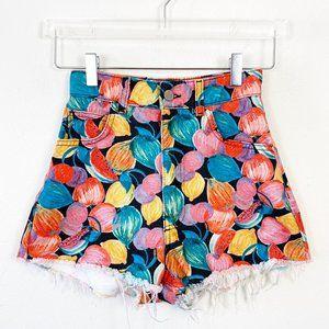 Zara TRF Novelty Fruit Sketch High Rise Shorts 0